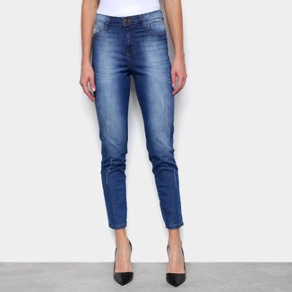Calça Jeans Skinny Ecxo Cropped Cintura Média Feminina