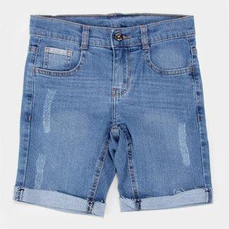 Bermuda Infantil Jeans Hering Barra Dobrada Masculina
