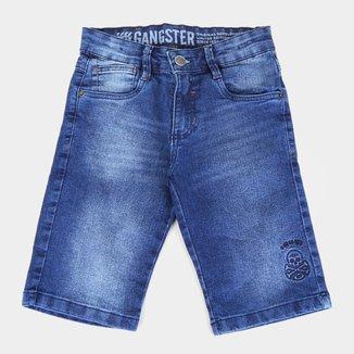 Bermuda Jeans Juvenil Gansgter Lavada Bordado Masculina
