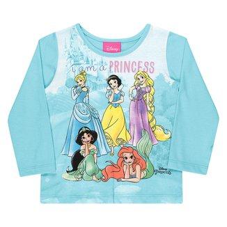 Blusa Infantil Disney By Kamylus Princesas Manga Longa Feminina
