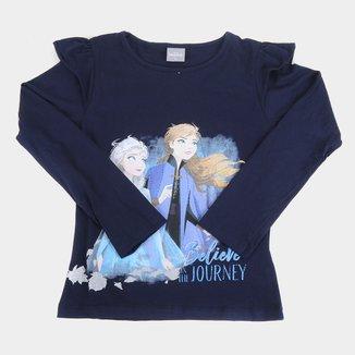 Blusa Infantil Disney Frozen By Fakini Manga Longa Feminina