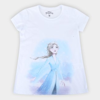 Blusa Infantil Disney Frozen Manga Curta Feminina