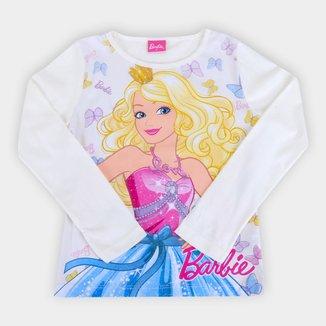 Blusa Infantil Fakini Barbie Manga Longa Feminina