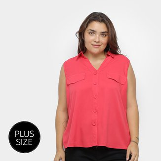 Blusa Regata Heli Plus Size C/ Botões Feminina