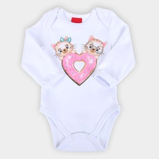 Body Bebê Kyly Manga Longa Gatinhos Suedine Feminino