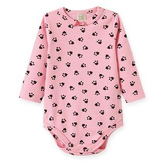 Body Bebê Pingo Lelê Suedine Manga Longa Suedine Feminino