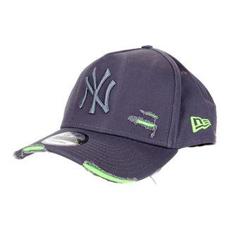 Boné New Era MLB New York Yankees Aba Curva Strapback A-Frame Destroyed 9Forty