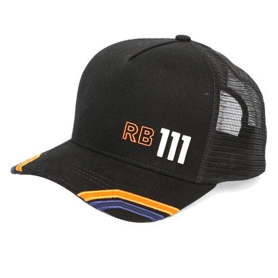 Boné RB111 Aba Curva Snapback Trucker Rubens Barrichello Move - Preto