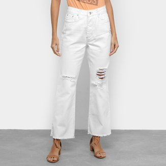 Calça Jeans Disparate Reta Com Puídos Feminina