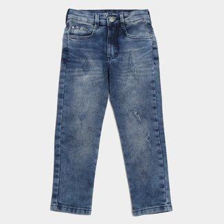Calça Jeans Infantil Malwee Skinny Estonada Masculina
