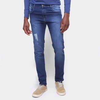 Calça Jeans Skinny Básica Com Puídos Cintura Média Masculina
