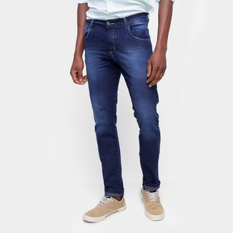 Calça Jeans Skinny Básica Estonada Cintura Média Masculina