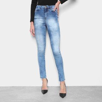 Calça Jeans Skinny Ecxo Cintura Média Feminina