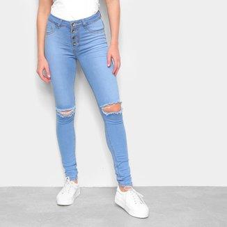 Calça Jeans Skinny Estonada Rasgos Botões Feminina