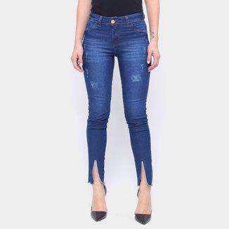 Calça Jeans Skinny Fenda Na Barra Feminina