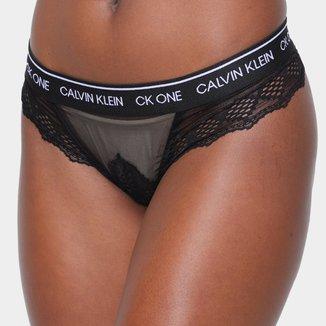Calcinha Fio Dental Calvin Klein CK One Black Belize