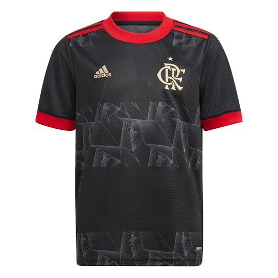 Camisa Flamengo Juvenil III 21/22 s/n° Torcedor Adidas - Preto+Vermelho