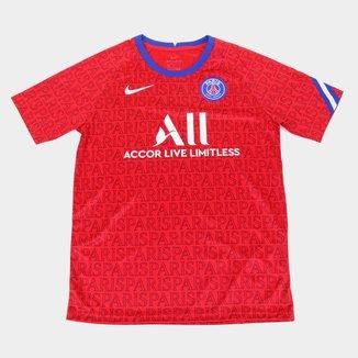 Camisa Paris Saint-Germain Juvenil Pré-Jogo 20/21 Nike