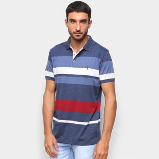 Camisa Polo Aleatory Fio Tinto Listra Horizontal Masculina