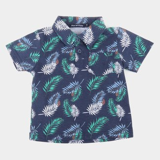 Camisa Polo Bebê Plural Kids Folhagens Masculina
