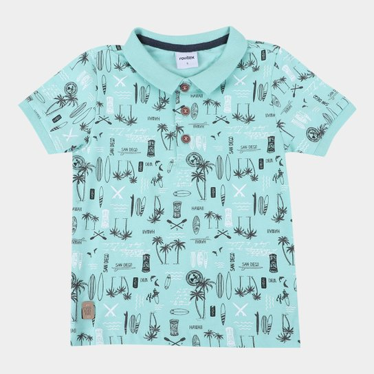 Camisa Polo Bebê Rovitex Coqueiros Masculina - Verde