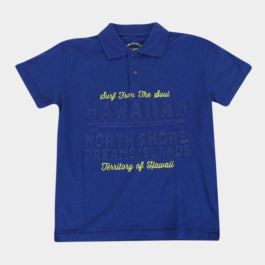 Camisa Polo Infantil HD Estampada Masculina - Marinho