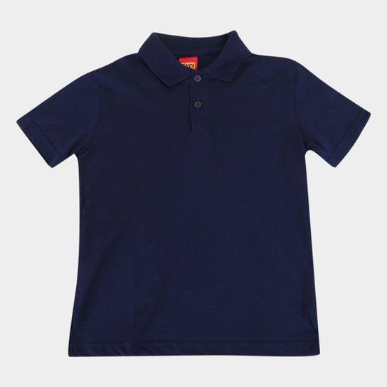 Camisa Polo Infantil Kyly Manga Curta Masculina - Marinho
