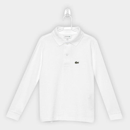 Camisa Polo Infantil Lacoste Manga Longa Masculina - Branco