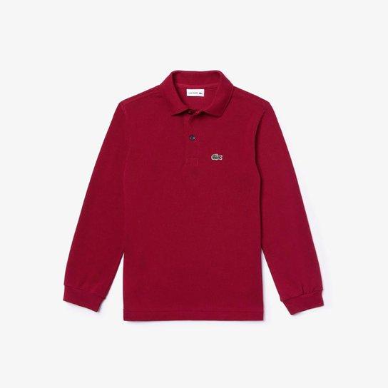 Camisa Polo Infantil Lacoste Manga Longa Masculina - Vermelho