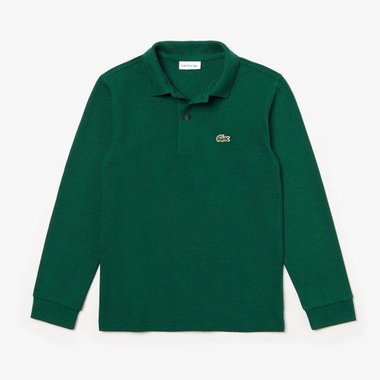 Camisa Polo Infantil Lacoste Manga Longa Masculina - Verde