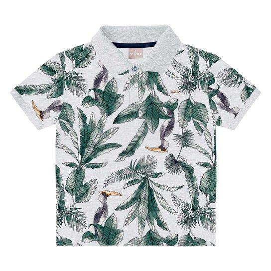 Camisa Polo Infantil Milon Folhagens Masculina - Cinza