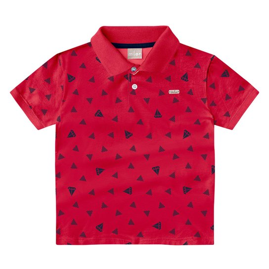 Camisa Polo Infantil Milon Folhagens Masculina - Vermelho