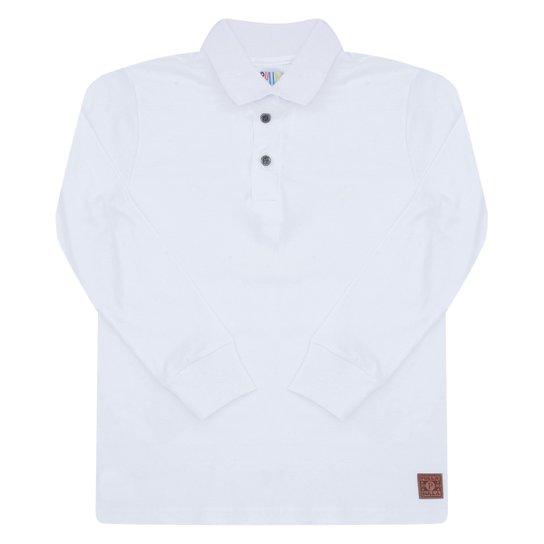Camisa Polo Infantil Pulla Bulla Manga Longa Masculina - Branco