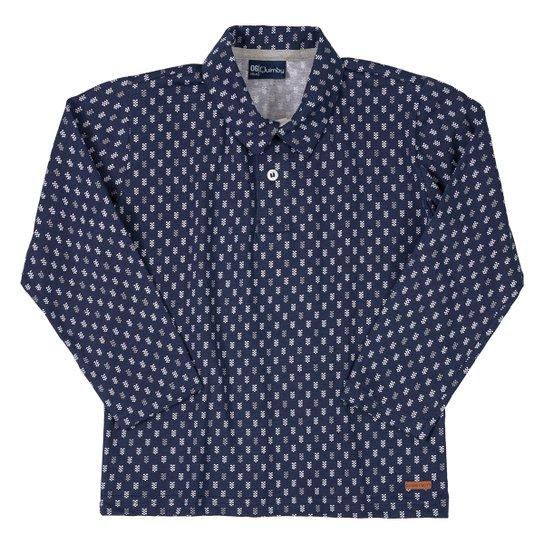 Camisa Polo Infantil Quimby Estampada Manga Longa - Marinho