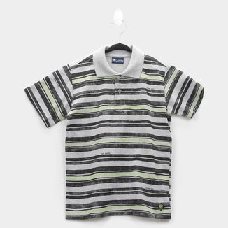 Camisa Polo Infantil Quimby Malha Listrada Masculina