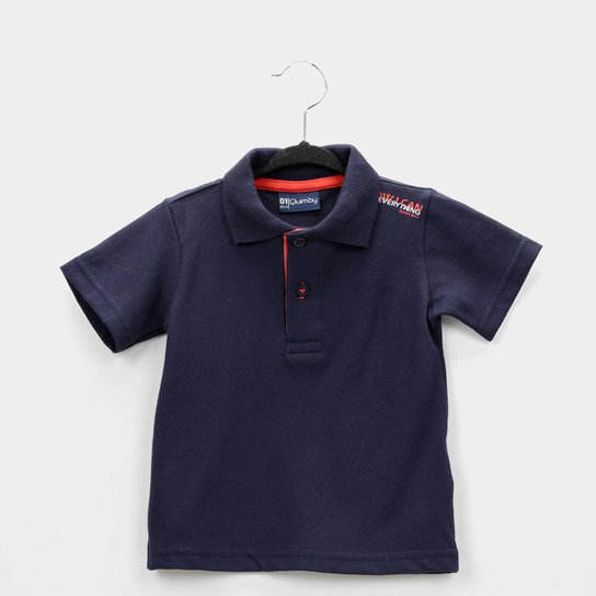 Camisa Polo Infantil Quimby Pique Básica Masculina - Marinho