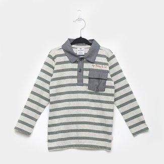 Camisa Polo Infantil Up Baby Manga Longa Malha Listrada Masculina