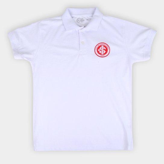 Camisa Polo Internacional Juvenil Hat Trick - Branco