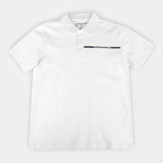 Camisa Polo Juvenil Calvin Klein Básica Logo Masculina