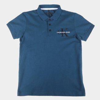 Camisa Polo Juvenil Calvin Klein Logo Masculina