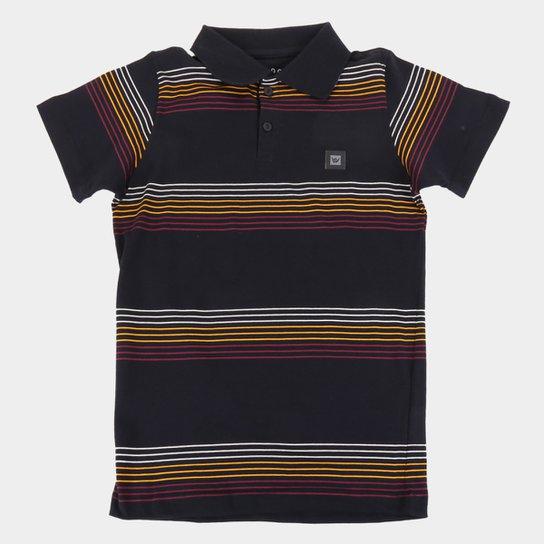 Camisa Polo Juvenil Hang Loose Listrada Masculina - Preto