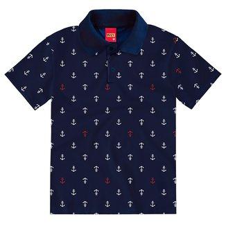 Camisa Polo Juvenil Kyly Malha Estampada Masculina
