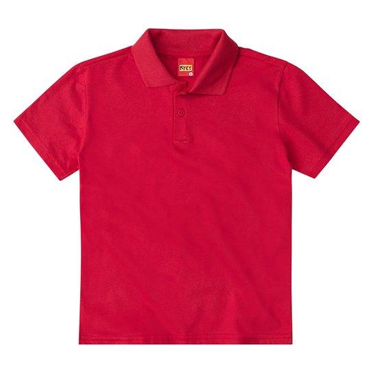Camisa Polo Juvenil Kyly Meia Malha Básica Masculina - Vermelho