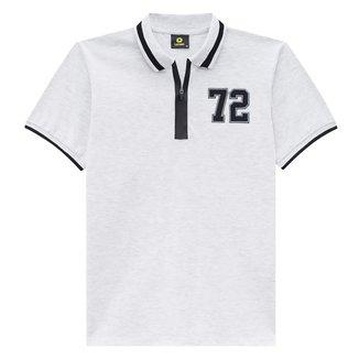 Camisa Polo Juvenil Lemon Gola Zíper Bordado Masculina