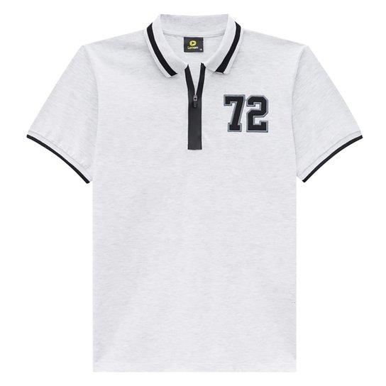Camisa Polo Juvenil Lemon Gola Zíper Bordado Masculina - Off White