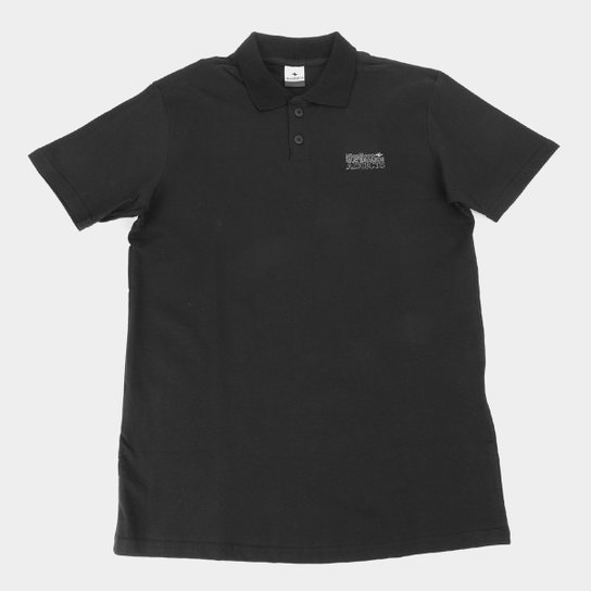 Camisa Polo Juvenil Nicoboco Lisa Masculina - Preto