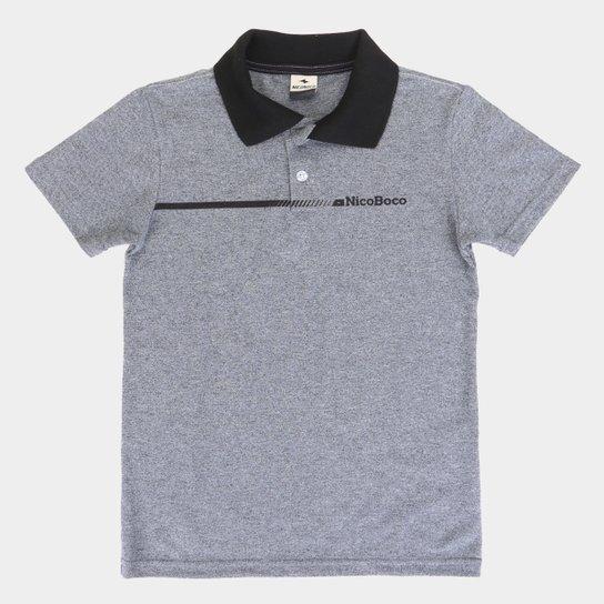 Camisa Polo Juvenil Nicoboco Pack Masculina - Preto