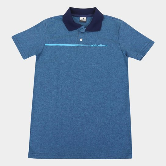 Camisa Polo Juvenil Nicoboco Pack Masculina - Azul