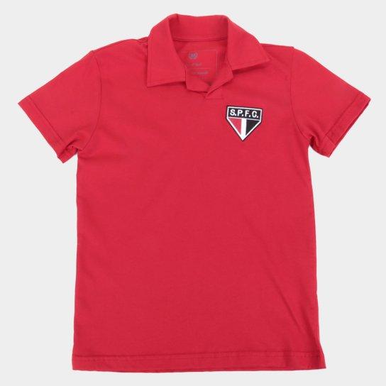 Camisa Polo Juvenil São Paulo Retrô Mania - Vermelho