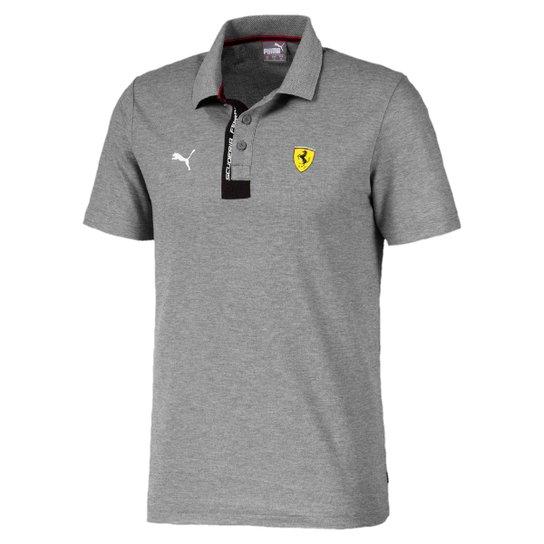 Camisa Polo Puma Scuderia Ferrari Masculina - Cinza